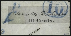 Sale Number 1025, Lot Number 15, Postmasters Provisionals: Baltimore Md.Baltimore Md., 10c Black on Bluish (3X4), Baltimore Md., 10c Black on Bluish (3X4)