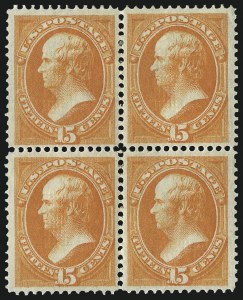 Sale Number 1025, Lot Number 167, 1870-88 Bank Note Issues, including Scott 20415c Orange, Grill (141), 15c Orange, Grill (141)