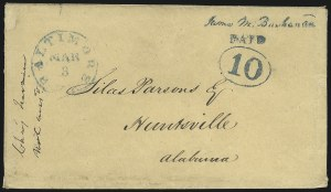 Sale Number 1025, Lot Number 17, Postmasters Provisionals: Baltimore Md.Baltimore Md., 10c Blue on Manila entire (3XU3), Baltimore Md., 10c Blue on Manila entire (3XU3)