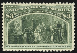 Sale Number 1025, Lot Number 187, Columbian Issue$3.00 Olive Green, Columbian (243a), $3.00 Olive Green, Columbian (243a)