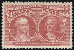 Sale Number 1025, Lot Number 188, Columbian Issue$4.00 Columbian (244), $4.00 Columbian (244)