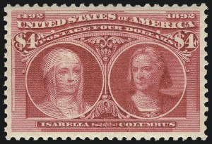 Sale Number 1025, Lot Number 189, Columbian Issue$4.00 Columbian (244), $4.00 Columbian (244)