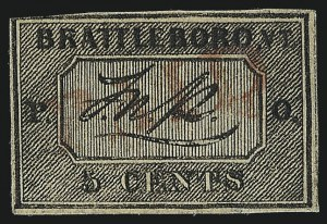 Sale Number 1025, Lot Number 19, Postmasters Provisionals: Brattleboro Vt.Brattleboro Vt., 5c Black on Buff (5X1), Brattleboro Vt., 5c Black on Buff (5X1)