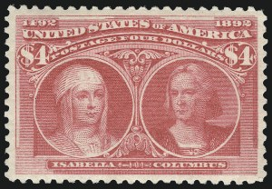 Sale Number 1025, Lot Number 190, Columbian Issue$4.00 Rose Carmine, Columbian (244a), $4.00 Rose Carmine, Columbian (244a)