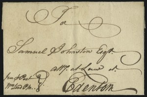 Sale Number 1025, Lot Number 2, Colonial Period and Western ExpressWilmington N.C. to Edenton N.C., circa 1771, Wilmington N.C. to Edenton N.C., circa 1771