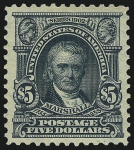 Sale Number 1025, Lot Number 212, 1902-08 Issue thru Bluish Paper$5.00 Dark Green (313), $5.00 Dark Green (313)
