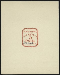 Sale Number 1025, Lot Number 23, Postmasters Provisionals: New Haven Ct.New Haven, Conn. 5c Provisional Reprints (8XU1R vars), New Haven, Conn. 5c Provisional Reprints (8XU1R vars)