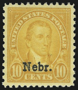 Sale Number 1025, Lot Number 238, Later Issues10c Nebr. Ovpt. (679), 10c Nebr. Ovpt. (679)