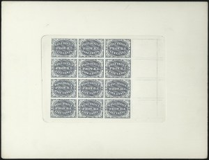 Sale Number 1025, Lot Number 25, Postmasters Provisionals: Providence R.I.Providence R.I., 5c, 10c Black, Plate Proofs and Trial Color Plate Proofs on Card (10X1P4, 10X2P4, 10X1TC4, 10X2TC4), Providence R.I., 5c, 10c Black, Plate Proofs and Trial Color Plate Proofs on Card (10X1P4, 10X2P4, 10X1TC4, 10X2TC4)