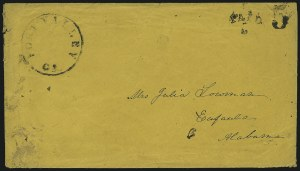 Sale Number 1025, Lot Number 284, Confederate StatesFort Valley Ga., 3c Black entire (Unlisted), Fort Valley Ga., 3c Black entire (Unlisted)