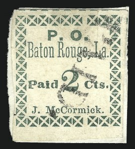 Sale Number 1025, Lot Number 287, Confederate StatesBaton Rouge La., 2c Green (11X1), Baton Rouge La., 2c Green (11X1)