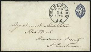 Sale Number 1025, Lot Number 300, Confederate StatesCharleston S.C., 5c Blue entire (16XU1), Charleston S.C., 5c Blue entire (16XU1)
