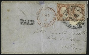 Sale Number 1025, Lot Number 312, Hawaii, Philippines1853, 13c Dark Red, Thick White Wove (6), 1853, 13c Dark Red, Thick White Wove (6)