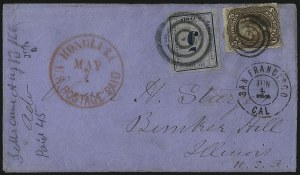 "Sale Number 1025, Lot Number 314, Hawaii, Philippines1865, 5c Blue on Blue, ""Hawaiian Postage"" (21), 1865, 5c Blue on Blue, ""Hawaiian Postage"" (21)"
