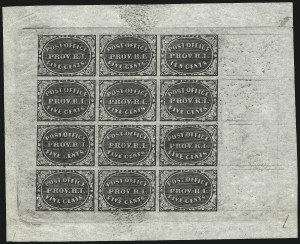 Sale Number 1025, Lot Number 34, Postmasters Provisionals: Providence R.I.Providence R.I., 5c-10c Gray Black, Reprint (10X1R-10X2R), Providence R.I., 5c-10c Gray Black, Reprint (10X1R-10X2R)