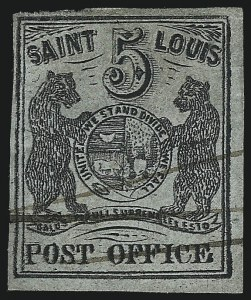 Sale Number 1025, Lot Number 37, Postmasters Provisionals: St. Louis Mo.St. Louis Mo., 5c Black on Greenish (11X1), St. Louis Mo., 5c Black on Greenish (11X1)