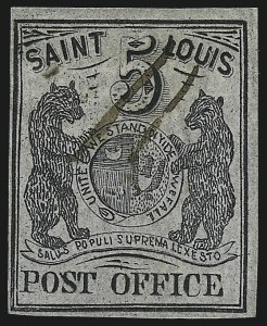 Sale Number 1025, Lot Number 43, Postmasters Provisionals: St. Louis Mo.St. Louis Mo., 5c Black on Gray Lilac (11X4), St. Louis Mo., 5c Black on Gray Lilac (11X4)