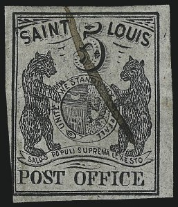 Sale Number 1025, Lot Number 44, Postmasters Provisionals: St. Louis Mo.St. Louis Mo., 5c Black on Gray Lilac (11X4), St. Louis Mo., 5c Black on Gray Lilac (11X4)