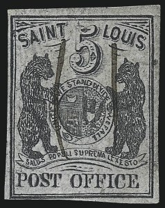 Sale Number 1025, Lot Number 45, Postmasters Provisionals: St. Louis Mo.St. Louis Mo., 5c Black on Gray Lilac (11X4), St. Louis Mo., 5c Black on Gray Lilac (11X4)