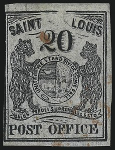 Sale Number 1025, Lot Number 50, Postmasters Provisionals: St. Louis Mo.St. Louis Mo., 20c Black on Gray Lilac (11X6), St. Louis Mo., 20c Black on Gray Lilac (11X6)