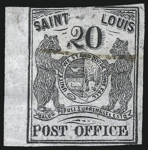 Sale Number 1025, Lot Number 52, Postmasters Provisionals: St. Louis Mo.St. Louis Mo., 20c Black on Gray Lilac (11X6), St. Louis Mo., 20c Black on Gray Lilac (11X6)