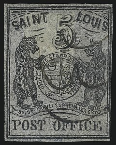 Sale Number 1025, Lot Number 53, Postmasters Provisionals: St. Louis Mo.St. Louis Mo., 5c Black on Bluish (11X7), St. Louis Mo., 5c Black on Bluish (11X7)