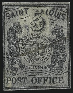 Sale Number 1025, Lot Number 55, Postmasters Provisionals: St. Louis Mo.St. Louis Mo., 5c Black on Bluish (11X7), St. Louis Mo., 5c Black on Bluish (11X7)