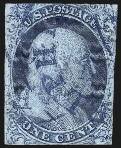 Sale Number 1025, Lot Number 71, 1851-56 Issue1c Blue, Ty. I (5), 1c Blue, Ty. I (5)
