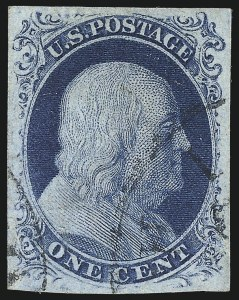 Sale Number 1025, Lot Number 74, 1851-56 Issue1c Blue, Ty. III (8), 1c Blue, Ty. III (8)