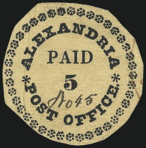 Sale Number 1025, Lot Number 8, Postmasters Provisionals: Alexandria Va.Alexandria, District of Columbia (or Virginia), 5c Black on Buff, Type I with 40 Ornaments (1X1), Alexandria, District of Columbia (or Virginia), 5c Black on Buff, Type I with 40 Ornaments (1X1)