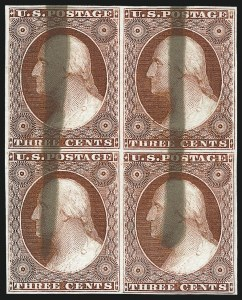 Sale Number 1025, Lot Number 80, 1851-56 Issue3c Red, Ty. I, Plate Proof on India, Brush Stroke Obliteration (11P3), 3c Red, Ty. I, Plate Proof on India, Brush Stroke Obliteration (11P3)