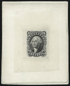 Sale Number 1025, Lot Number 83, 1851-56 Issue10c Black, Ty. I, Large Die Trial Color Proof on India (13TC1), 10c Black, Ty. I, Large Die Trial Color Proof on India (13TC1)