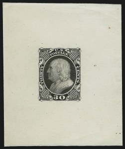 Sale Number 1025, Lot Number 95, 1857-60 Issue and Reprints30c Black, Die Essay on India (38-E1 var), 30c Black, Die Essay on India (38-E1 var)