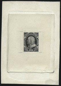 Sale Number 1025, Lot Number 96, 1857-60 Issue and Reprints30c Black, Large Die Trial Color Proof on India (38TC1), 30c Black, Large Die Trial Color Proof on India (38TC1)