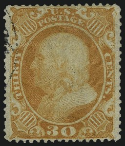 Sale Number 1025, Lot Number 97, 1857-60 Issue and Reprints30c Orange (38), 30c Orange (38)