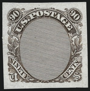 Sale Number 1026, Lot Number 1049, Essays and Proofs: 1869 Pictorial Issue, cont.90c Frame Only, Plate Essay on Stamp Paper (122-E3), 90c Frame Only, Plate Essay on Stamp Paper (122-E3)