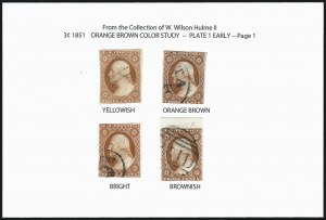 Sale Number 1026, Lot Number 1143, 1851-56 Issue (Scott 5A-17)W. Wilson Hulme Color Study of the Orange Brown 3c 1851 Issue (10-10A, 11A var), W. Wilson Hulme Color Study of the Orange Brown 3c 1851 Issue (10-10A, 11A var)