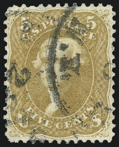 Sale Number 1026, Lot Number 1211, 1861-66 Issue (Scott 56-76)5c Brown Yellow (67a), 5c Brown Yellow (67a)