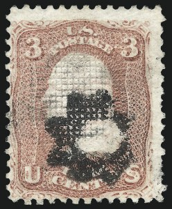 Sale Number 1026, Lot Number 1232, 1867-68 Grilled Issue and 1875 Re-Issue (Scott 79-109)3c Rose, Z. Grill (85C), 3c Rose, Z. Grill (85C)