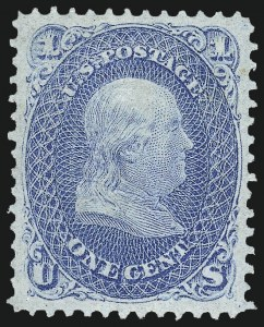 Sale Number 1026, Lot Number 1240, 1867-68 Grilled Issue and 1875 Re-Issue (Scott 79-109)1c Blue, F. Grill (92), 1c Blue, F. Grill (92)