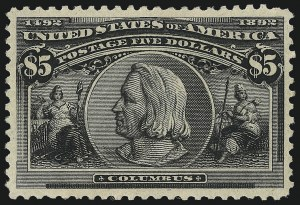Sale Number 1026, Lot Number 1326, 1893 Columbian Issue (Scott 230-245)$5.00 Columbian (245), $5.00 Columbian (245)
