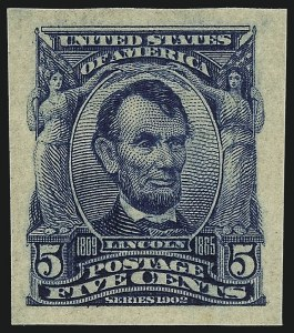 Sale Number 1026, Lot Number 1371, 1902-08 Issue, Louisiana Purchase and Jamestown Issues (Scott 300-330)5c Blue, Imperforate (315), 5c Blue, Imperforate (315)