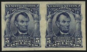 Sale Number 1026, Lot Number 1372, 1902-08 Issue, Louisiana Purchase and Jamestown Issues (Scott 300-330)5c Blue, Imperforate (315), 5c Blue, Imperforate (315)
