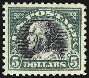 Sale Number 1026, Lot Number 1452, 1912-22 Issues, continued (Scott 498f-547)$5.00 Deep Green & Black (524), $5.00 Deep Green & Black (524)