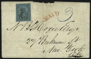 Sale Number 1026, Lot Number 1909, Carriers and Locals: Stamps and CoversU.S. City Despatch Post, New York N.Y., 3c Black on Blue Green Glazed (6LB5), U.S. City Despatch Post, New York N.Y., 3c Black on Blue Green Glazed (6LB5)