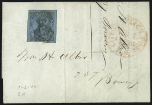 Sale Number 1026, Lot Number 1910, Carriers and Locals: Stamps and CoversU.S. City Despatch Post, New York N.Y., 3c Black on Blue Glazed (6LB5b), U.S. City Despatch Post, New York N.Y., 3c Black on Blue Glazed (6LB5b)