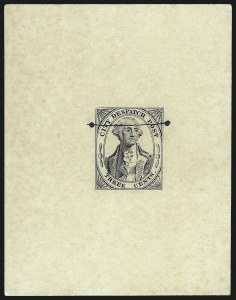 Sale Number 1026, Lot Number 1917, Carriers and Locals: Stamps and Covers(Greig's) City Despatch Post, New York N.Y., 3c Black, Reprint Die Proofs on Colored Paper, Defaced Die Proof on Card (40L1TC, 40L1R), (Greig's) City Despatch Post, New York N.Y., 3c Black, Reprint Die Proofs on Colored Paper, Defaced Die Proof on Card (40L1TC, 40L1R)