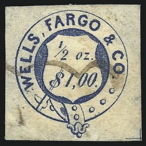 Sale Number 1026, Lot Number 1920, Carriers and Locals: Stamps and CoversWells, Fargo & Co. Pony Express, $1.00 Blue, Garter (143L6), Wells, Fargo & Co. Pony Express, $1.00 Blue, Garter (143L6)