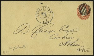 Sale Number 1026, Lot Number 1924, Civil War and Confederate States thru Hawaii: Stamps and CoversCharleston S.C. Mar. 29, 1861, Charleston S.C. Mar. 29, 1861