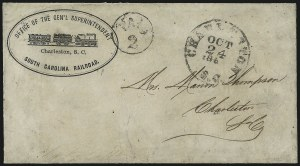 Sale Number 1026, Lot Number 1928, Civil War and Confederate States thru Hawaii: Stamps and CoversCharleston S.C. Oct. 24, 186?, Charleston S.C. Oct. 24, 186?